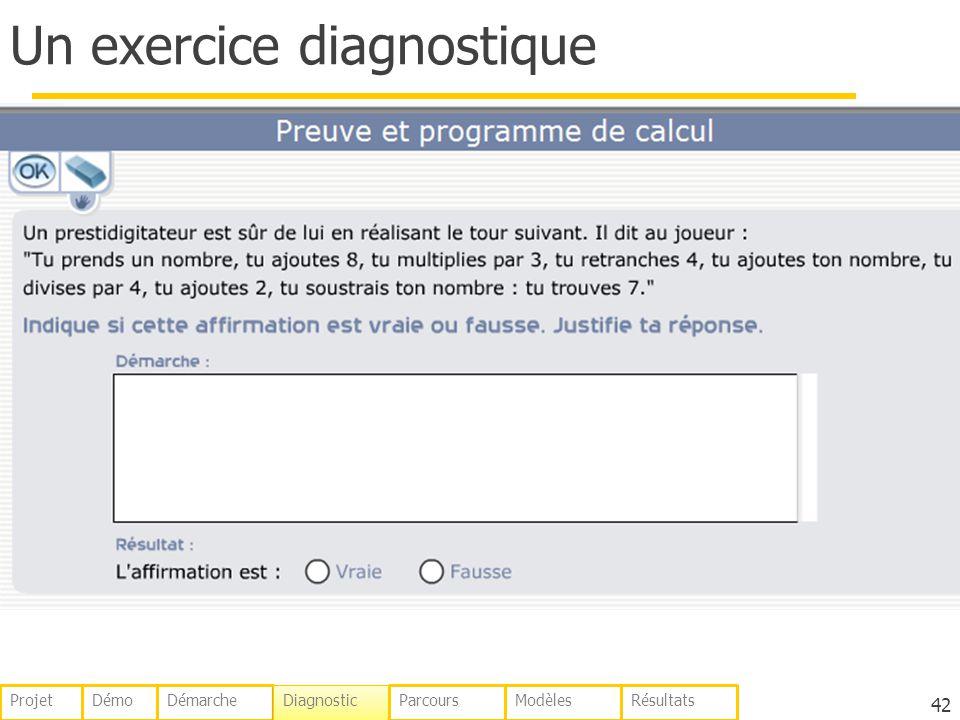 Un exercice diagnostique 42 DémoDémarche Diagnostic ParcoursModèlesRésultatsProjet