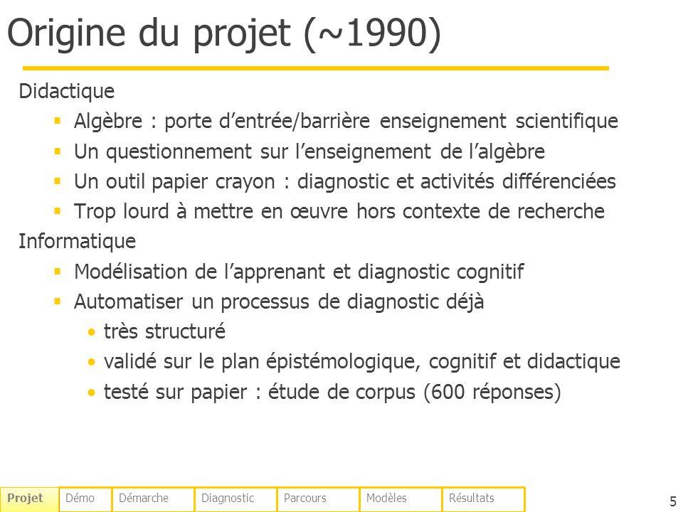 Origine du projet (~1990) Didactique Algèbre : porte dentrée/barrière enseignement scientifique Un questionnement sur lenseignement de lalgèbre Un out