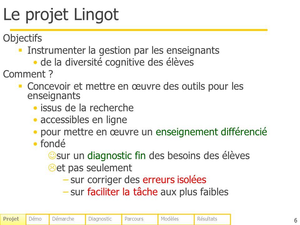 6 Le projet Lingot Objectifs Instrumenter la gestion par les enseignants de la diversité cognitive des élèves Comment ? Concevoir et mettre en œuvre d