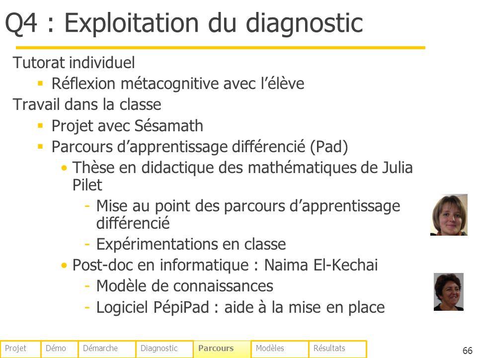 Q4 : Exploitation du diagnostic Tutorat individuel Réflexion métacognitive avec lélève Travail dans la classe Projet avec Sésamath Parcours dapprentissage différencié (Pad) Thèse en didactique des mathématiques de Julia Pilet -Mise au point des parcours dapprentissage différencié -Expérimentations en classe Post-doc en informatique : Naima El-Kechai -Modèle de connaissances -Logiciel PépiPad : aide à la mise en place 66 DémoDémarcheDiagnostic Parcours ModèlesRésultatsProjet