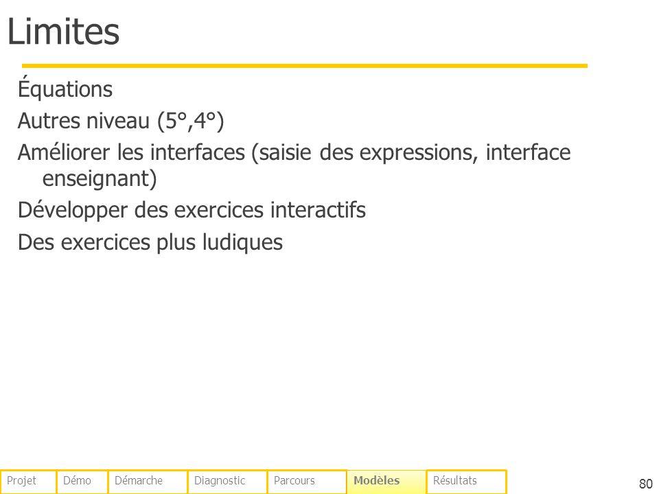 Limites Équations Autres niveau (5°,4°) Améliorer les interfaces (saisie des expressions, interface enseignant) Développer des exercices interactifs Des exercices plus ludiques 80 DémoDémarcheDiagnosticParcours Modèles RésultatsProjet