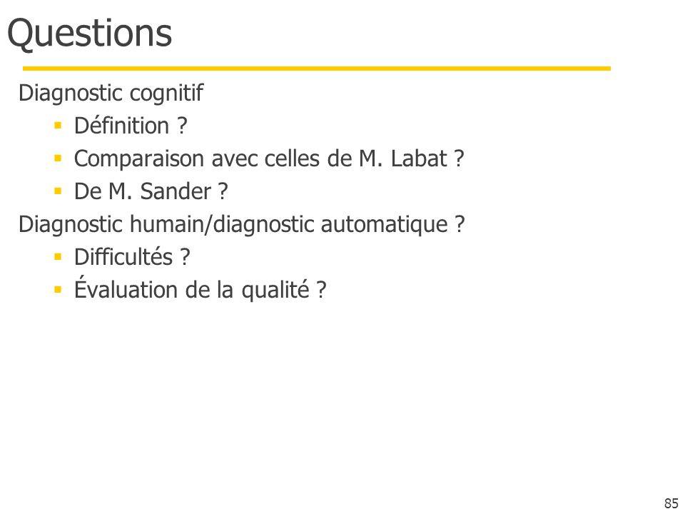 Questions Diagnostic cognitif Définition .Comparaison avec celles de M.