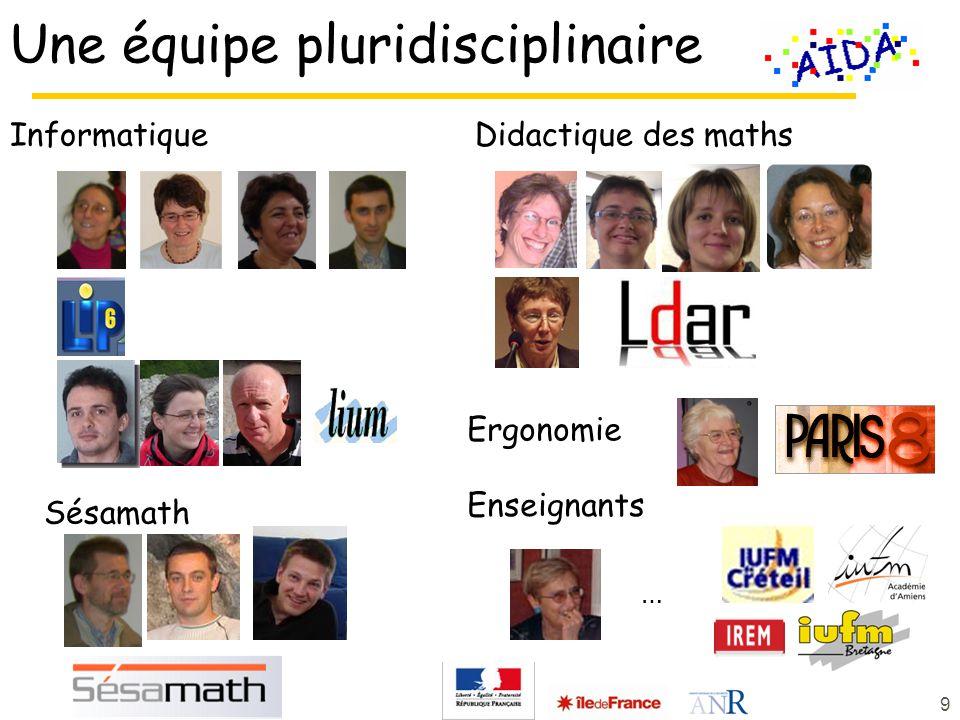 Didactique des maths Une équipe pluridisciplinaire Informatique Sésamath 9 Enseignants … Ergonomie