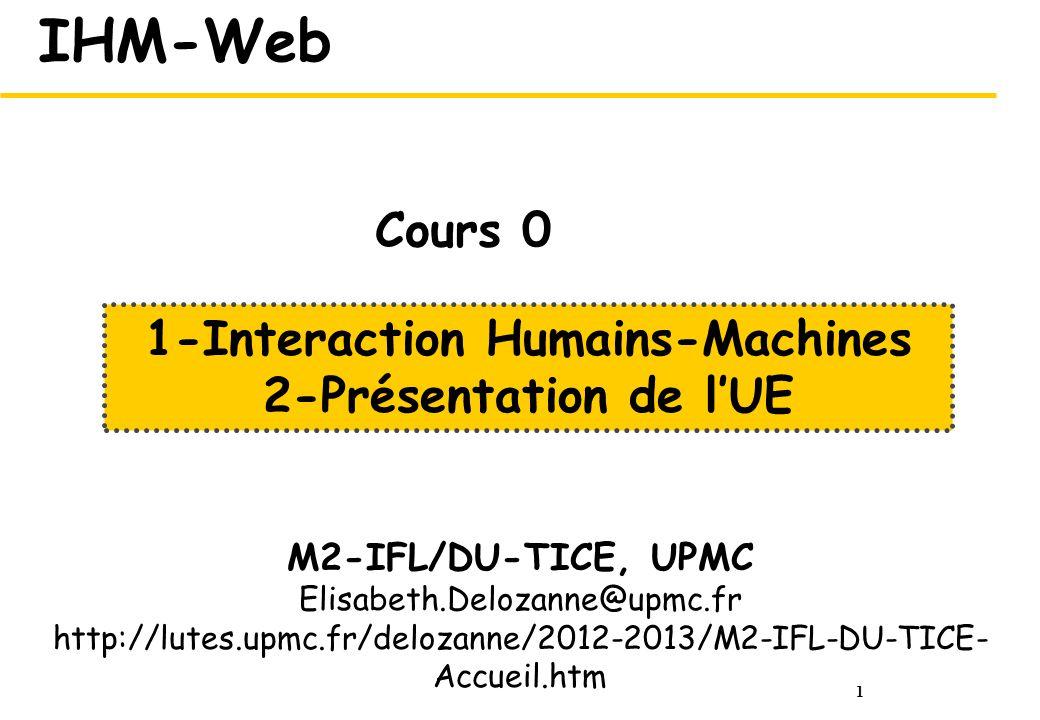 1 IHM-Web M2-IFL/DU-TICE, UPMC Elisabeth.Delozanne@upmc.fr http://lutes.upmc.fr/delozanne/2012-2013/M2-IFL-DU-TICE- Accueil.htm 1-Interaction Humains-