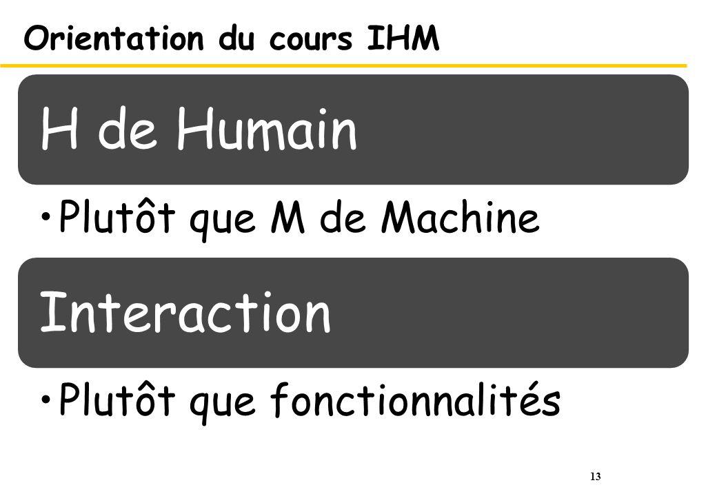 13 Orientation du cours IHM H de Humain Plutôt que M de Machine Interaction Plutôt que fonctionnalités