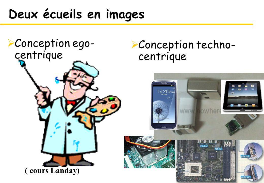 15 Conception techno- centrique 15 Deux écueils en images Conception ego- centrique ( cours Landay)