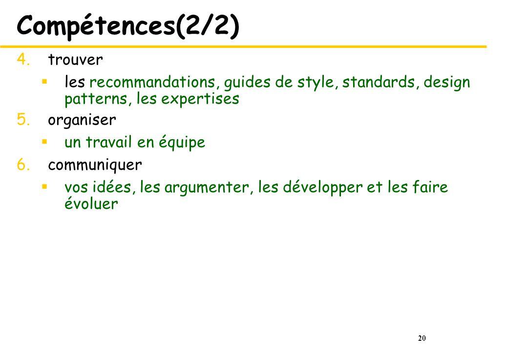 20 Compétences(2/2) 4.trouver les recommandations, guides de style, standards, design patterns, les expertises 5.organiser un travail en équipe 6.comm