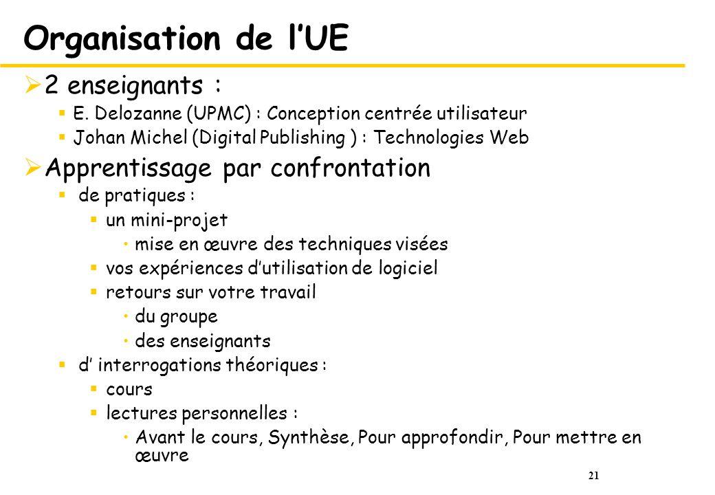 21 Organisation de lUE 2 enseignants : E. Delozanne (UPMC) : Conception centrée utilisateur Johan Michel (Digital Publishing ) : Technologies Web Appr