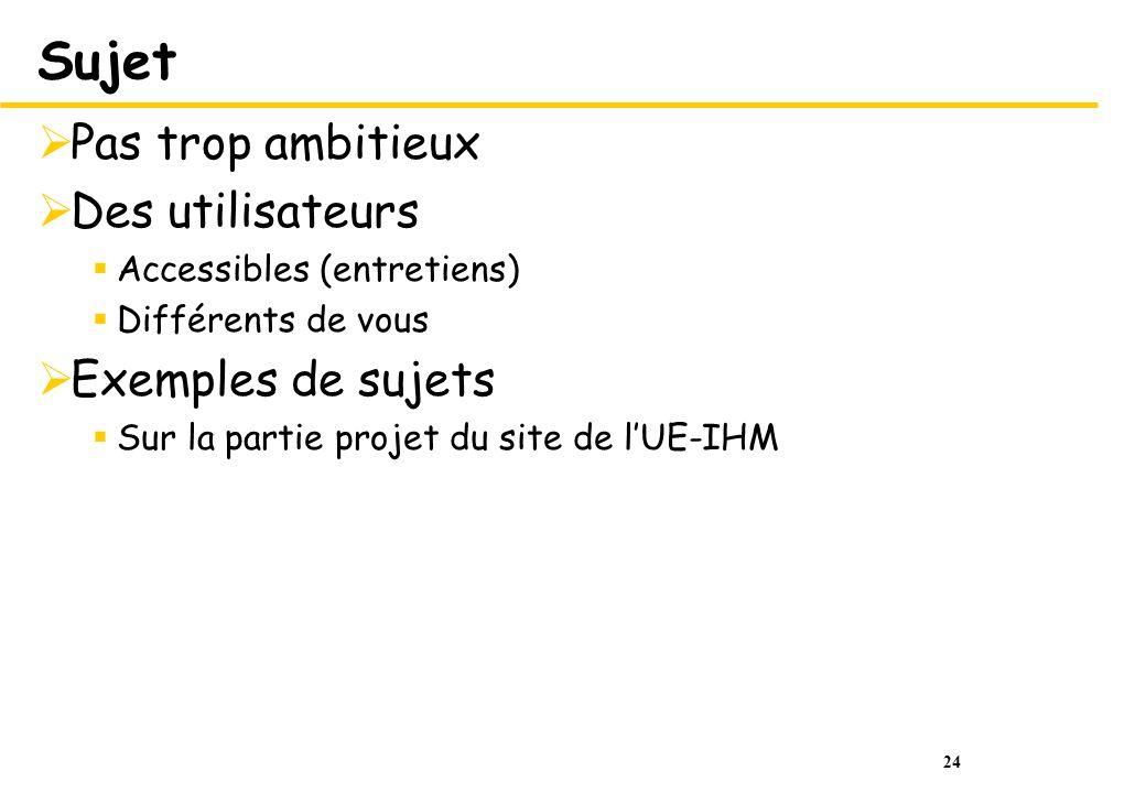 24 Sujet Pas trop ambitieux Des utilisateurs Accessibles (entretiens) Différents de vous Exemples de sujets Sur la partie projet du site de lUE-IHM