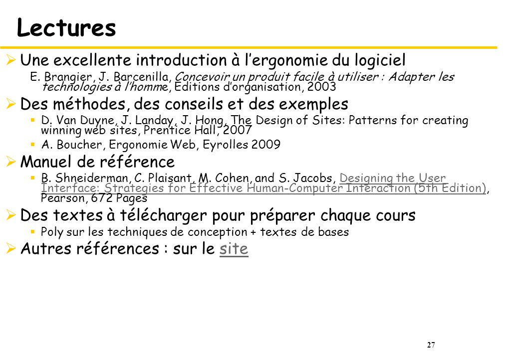 27 Lectures Une excellente introduction à lergonomie du logiciel E.