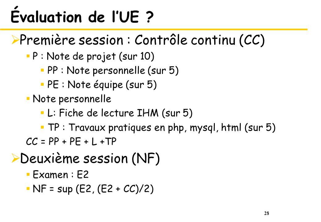 28 Évaluation de lUE ? Première session : Contrôle continu (CC) P : Note de projet (sur 10) PP : Note personnelle (sur 5) PE : Note équipe (sur 5) Not