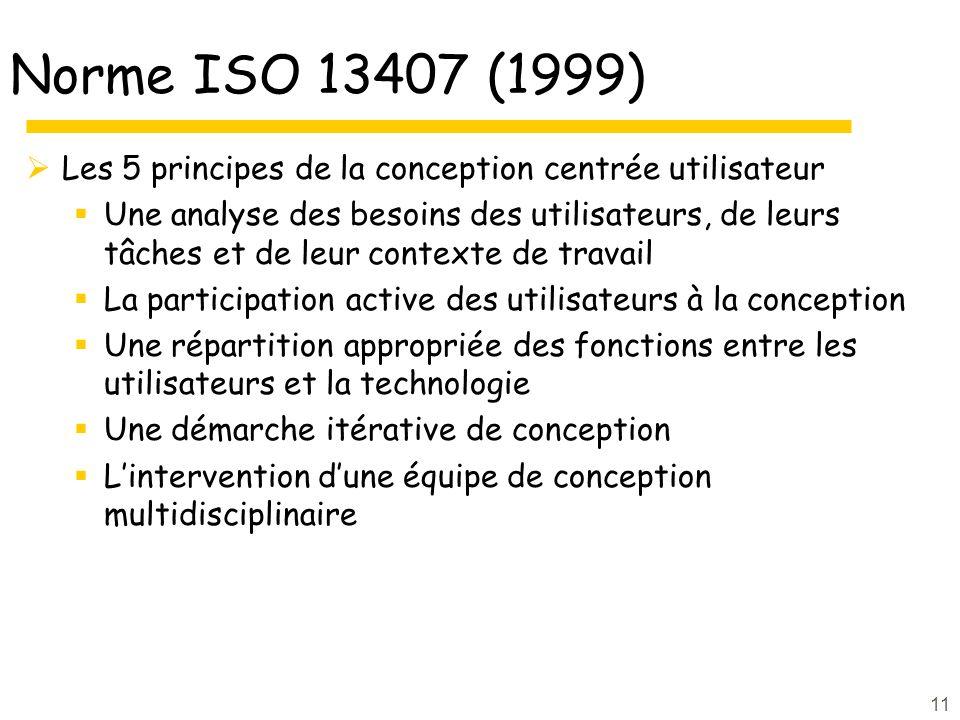 11 Norme ISO 13407 (1999) Les 5 principes de la conception centrée utilisateur Une analyse des besoins des utilisateurs, de leurs tâches et de leur contexte de travail La participation active des utilisateurs à la conception Une répartition appropriée des fonctions entre les utilisateurs et la technologie Une démarche itérative de conception Lintervention dune équipe de conception multidisciplinaire