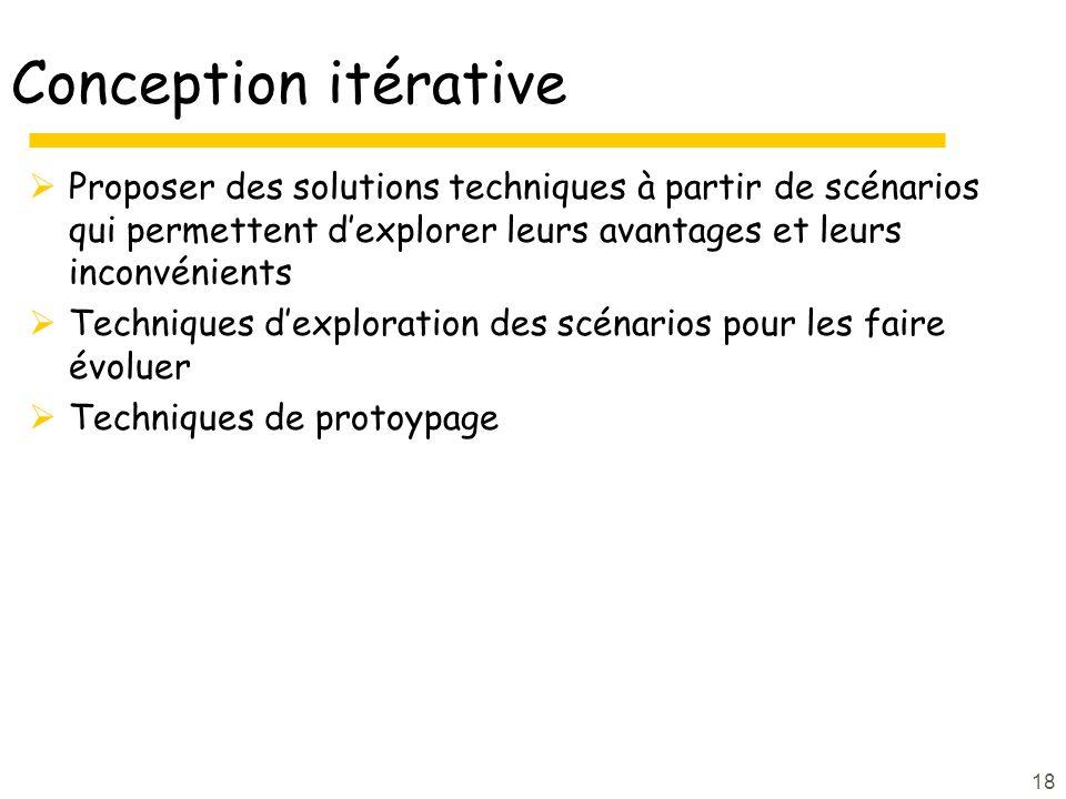 18 Conception itérative Proposer des solutions techniques à partir de scénarios qui permettent dexplorer leurs avantages et leurs inconvénients Techniques dexploration des scénarios pour les faire évoluer Techniques de protoypage