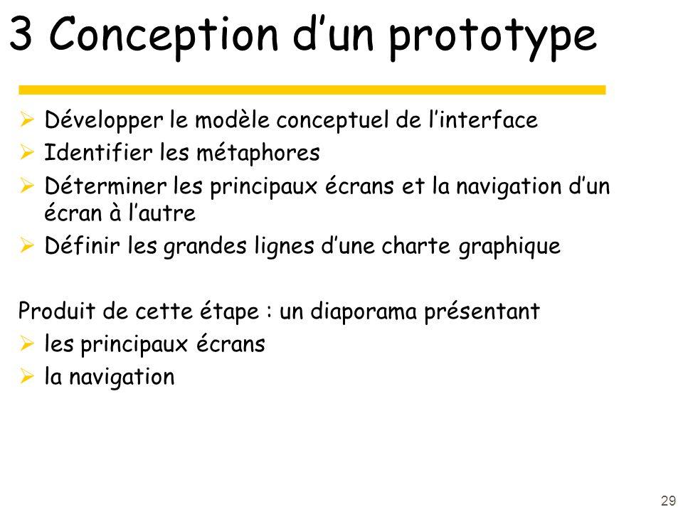 29 3 Conception dun prototype Développer le modèle conceptuel de linterface Identifier les métaphores Déterminer les principaux écrans et la navigation dun écran à lautre Définir les grandes lignes dune charte graphique Produit de cette étape : un diaporama présentant les principaux écrans la navigation