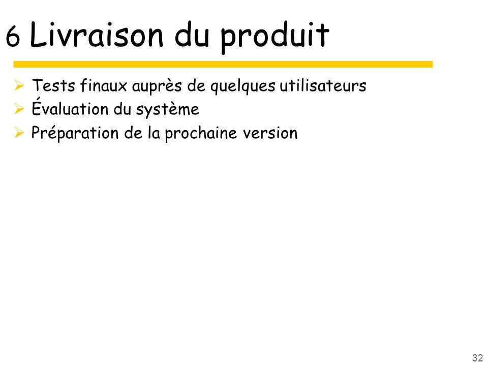 32 6 Livraison du produit Tests finaux auprès de quelques utilisateurs Évaluation du système Préparation de la prochaine version