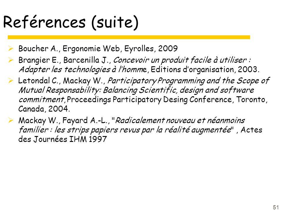 51 Reférences (suite) Boucher A., Ergonomie Web, Eyrolles, 2009 Brangier E., Barcenilla J., Concevoir un produit facile à utiliser : Adapter les technologies à lhomme, Editions dorganisation, 2003.