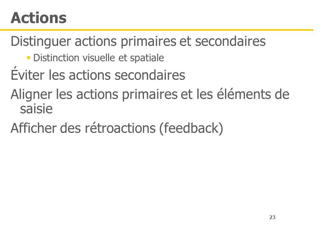 23 Actions Distinguer actions primaires et secondaires Distinction visuelle et spatiale Éviter les actions secondaires Aligner les actions primaires e