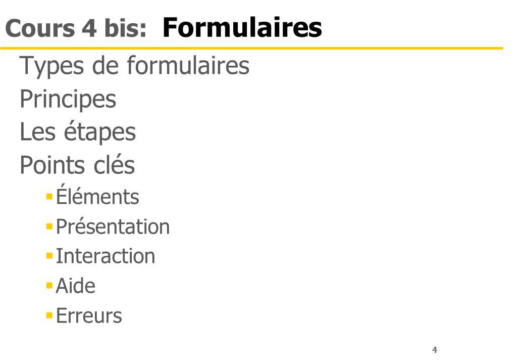 4 Cours 4 bis: Formulaires Types de formulaires Principes Les étapes Points clés Éléments Présentation Interaction Aide Erreurs