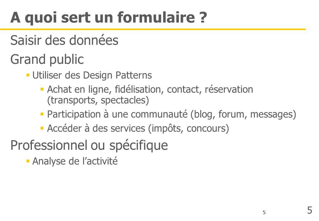 5 A quoi sert un formulaire ? Saisir des données Grand public Utiliser des Design Patterns Achat en ligne, fidélisation, contact, réservation (transpo