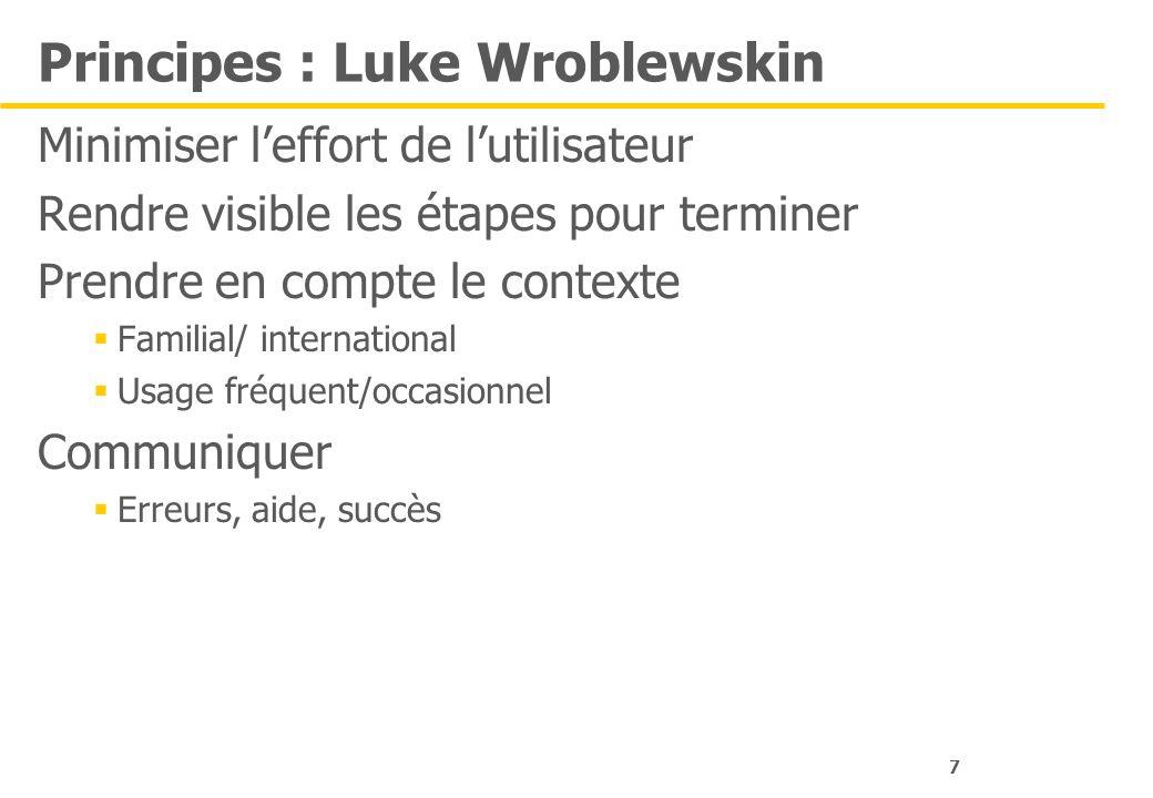7 Principes : Luke Wroblewskin Minimiser leffort de lutilisateur Rendre visible les étapes pour terminer Prendre en compte le contexte Familial/ inter
