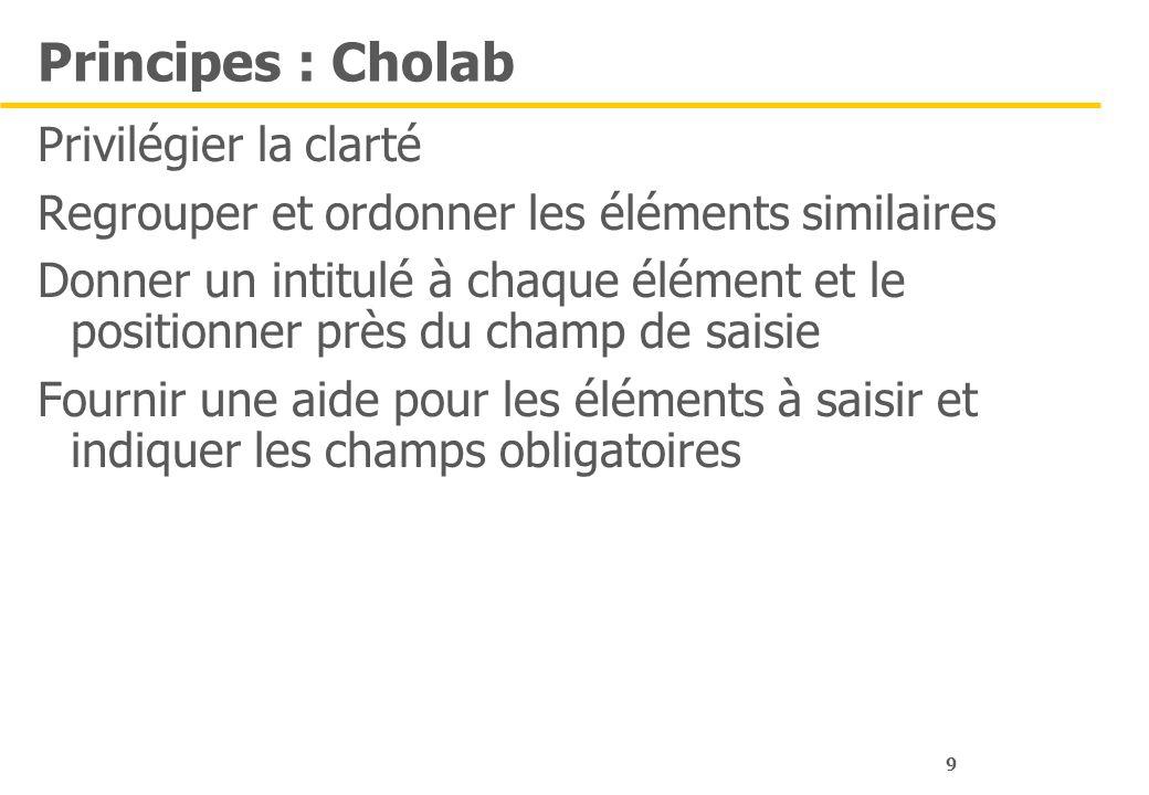 9 Principes : Cholab Privilégier la clarté Regrouper et ordonner les éléments similaires Donner un intitulé à chaque élément et le positionner près du champ de saisie Fournir une aide pour les éléments à saisir et indiquer les champs obligatoires