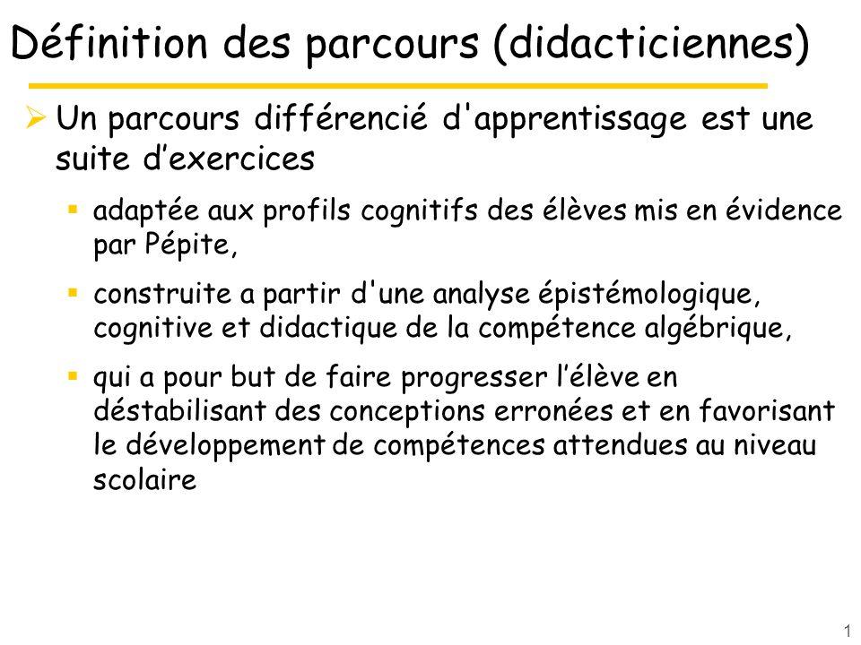 1 Définition des parcours (didacticiennes) Un parcours différencié d'apprentissage est une suite dexercices adaptée aux profils cognitifs des élèves m