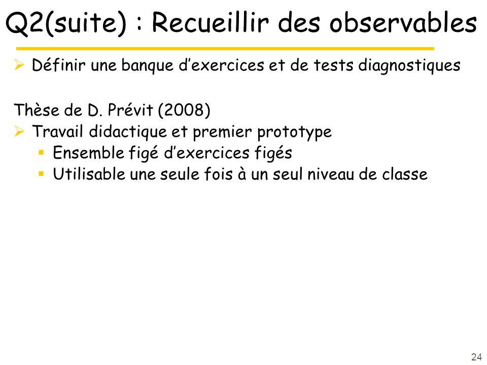 Q2(suite) : Recueillir des observables Définir une banque dexercices et de tests diagnostiques Thèse de D. Prévit (2008) Travail didactique et premier