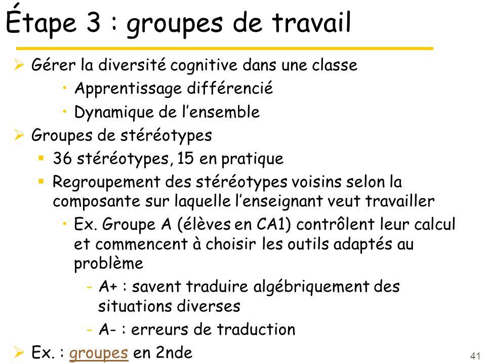 Étape 3 : groupes de travail Gérer la diversité cognitive dans une classe Apprentissage différencié Dynamique de lensemble Groupes de stéréotypes 36 stéréotypes, 15 en pratique Regroupement des stéréotypes voisins selon la composante sur laquelle lenseignant veut travailler Ex.