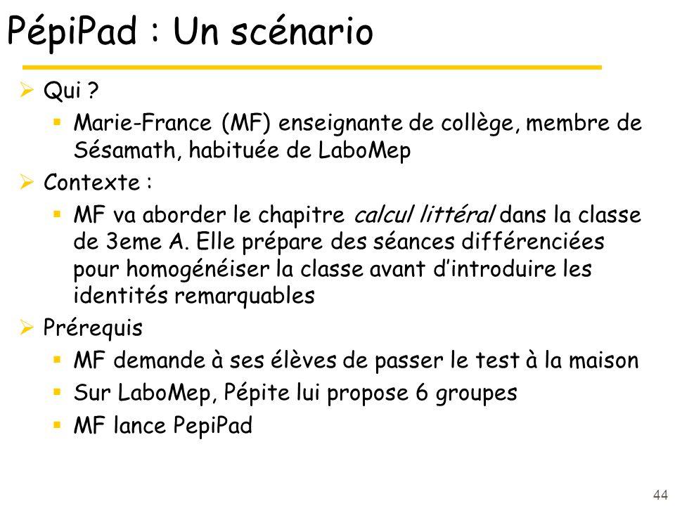 PépiPad : Un scénario Qui ? Marie-France (MF) enseignante de collège, membre de Sésamath, habituée de LaboMep Contexte : MF va aborder le chapitre cal
