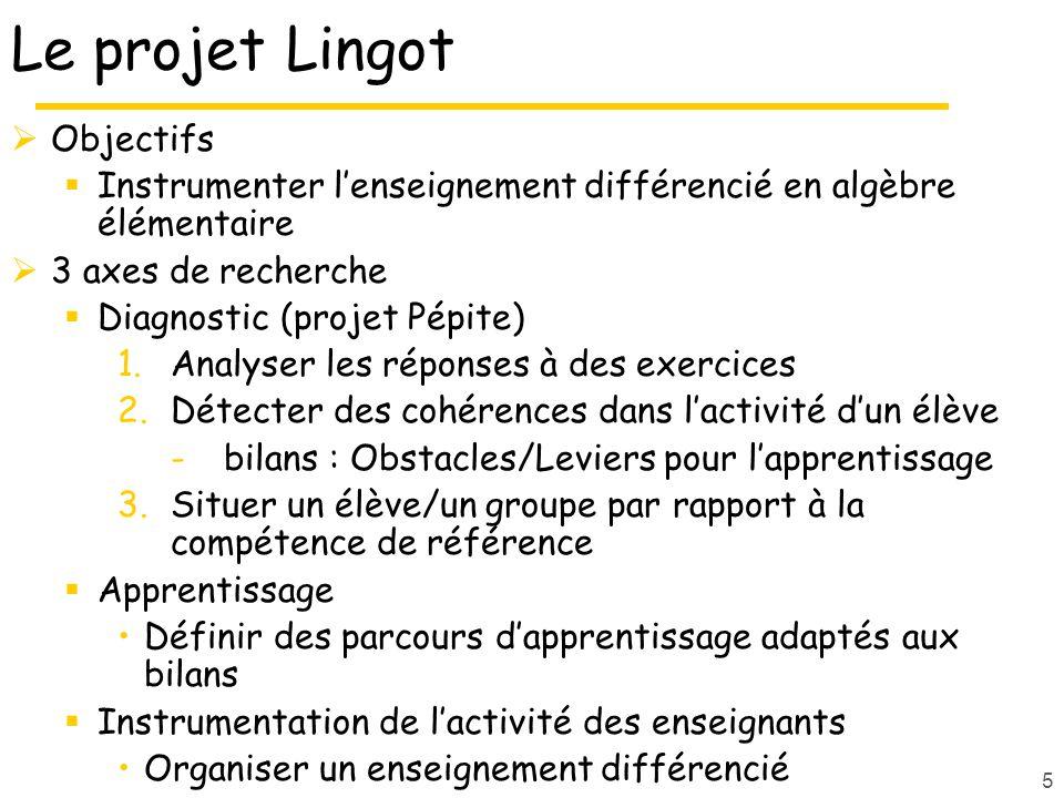 5 Le projet Lingot Objectifs Instrumenter lenseignement différencié en algèbre élémentaire 3 axes de recherche Diagnostic (projet Pépite) 1.Analyser les réponses à des exercices 2.Détecter des cohérences dans lactivité dun élève -bilans : Obstacles/Leviers pour lapprentissage 3.Situer un élève/un groupe par rapport à la compétence de référence Apprentissage Définir des parcours dapprentissage adaptés aux bilans Instrumentation de lactivité des enseignants Organiser un enseignement différencié