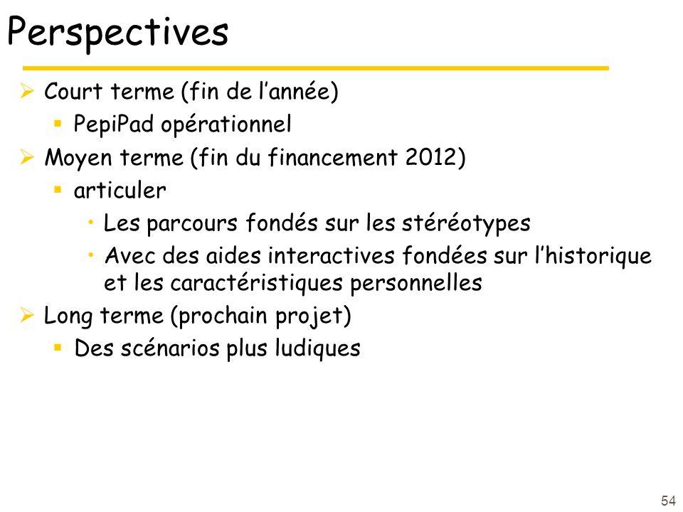 Perspectives Court terme (fin de lannée) PepiPad opérationnel Moyen terme (fin du financement 2012) articuler Les parcours fondés sur les stéréotypes