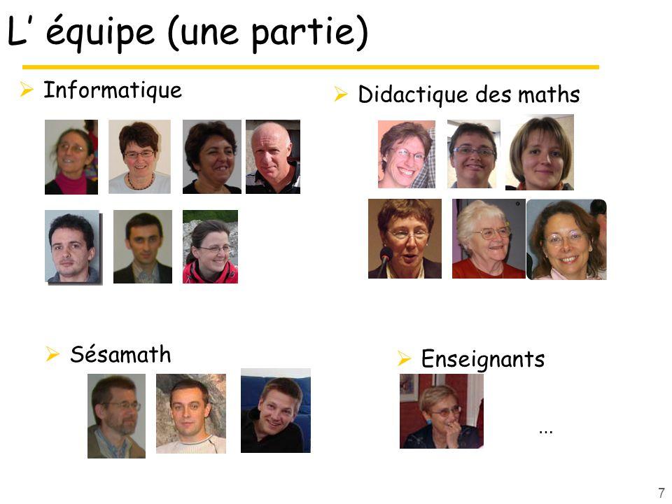 Didactique des maths L équipe (une partie) Informatique Sésamath 7 Enseignants …