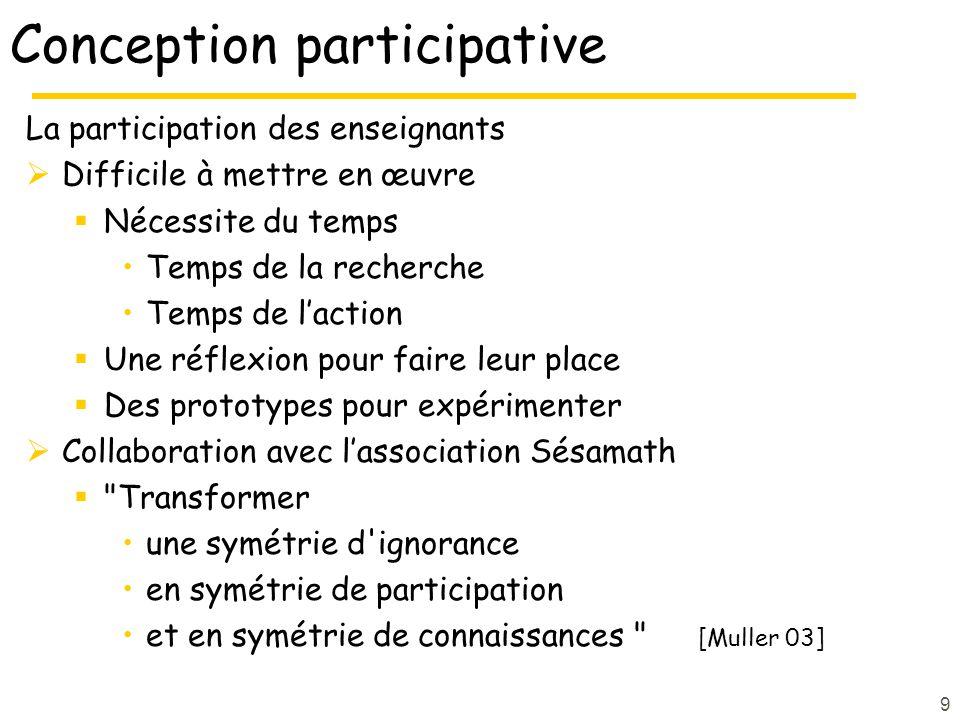 9 Conception participative La participation des enseignants Difficile à mettre en œuvre Nécessite du temps Temps de la recherche Temps de laction Une
