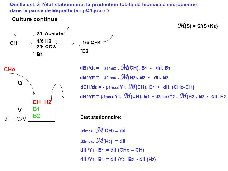 Quelle est, à létat stationnaire, la production totale de biomasse microbienne dans la panse de Biquette (en gC/l.jour) ? Etat stationnaire: Culture c