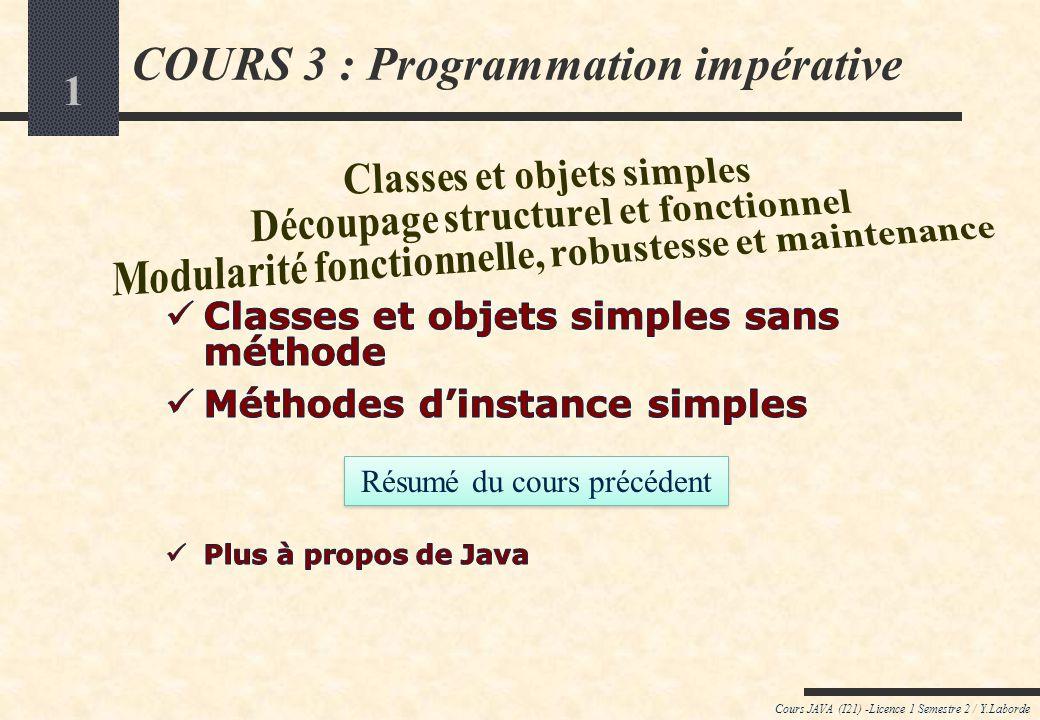 1 Cours JAVA (I21) -Licence 1 Semestre 2 / Y.Laborde COURS 3 : Programmation impérative Résumé du cours précédent
