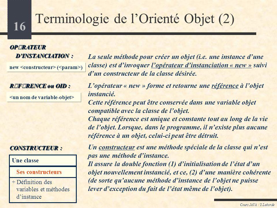 15 Cours JAVA / Y.Laborde Terminologie de lOrienté Objet (1) Une classe est un modèle contenant une description structurelle et fonctionnelle telle qu