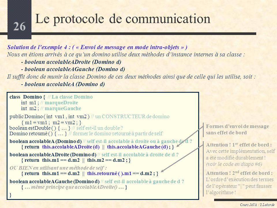 25 Cours JAVA / Y.Laborde Le protocole de communication Dans tous les langages objets, chaque objet, sil veut référer à lui-même, dispose dune auto-ré
