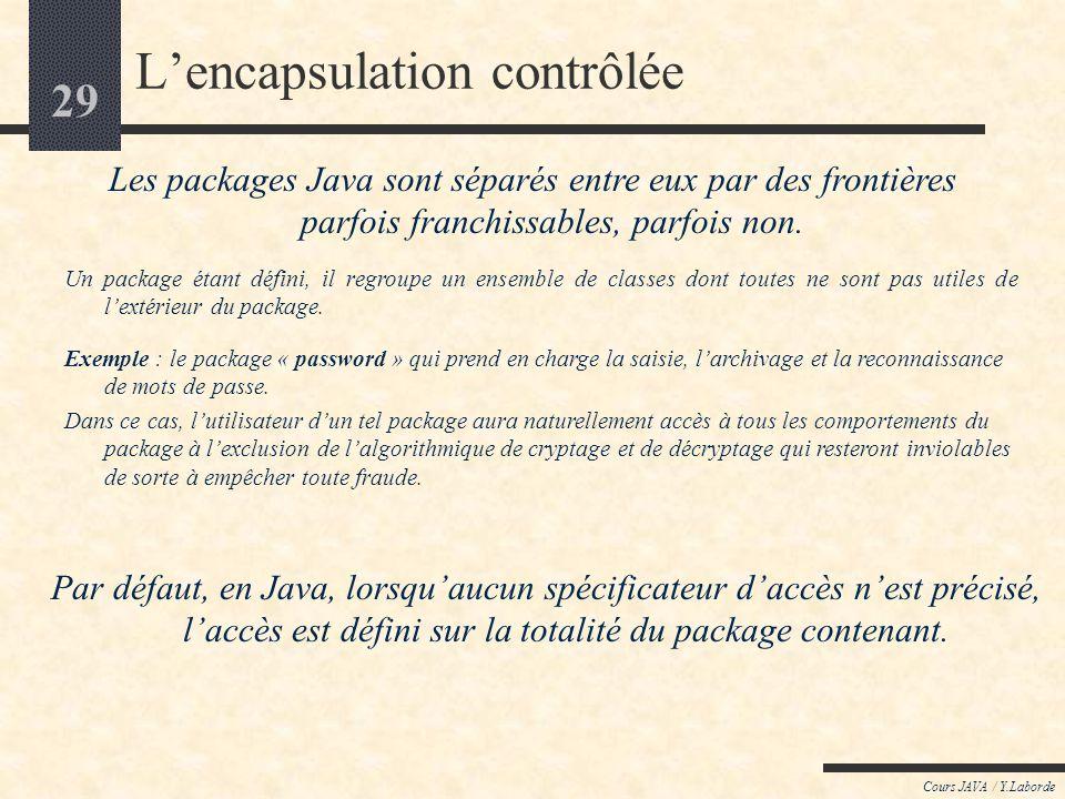 28 Cours JAVA / Y.Laborde Lencapsulation contrôlée La notion de « package » (première approche) Les packages Java fournissent le moyen de regrouper de