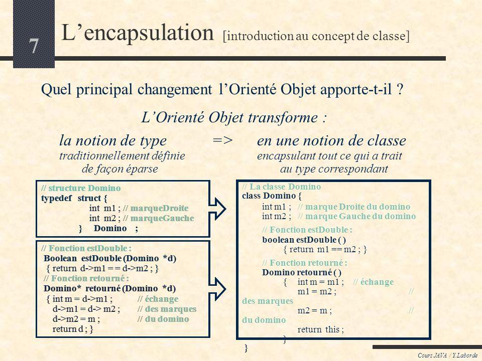 7 Cours JAVA / Y.Laborde // Fonction estDouble : Boolean estDouble (Domino *d) { return d->m1 = = d->m2 ; } // Fonction retourné : Domino* retourné (Domino *d) { int m = d->m1 ;// échange d->m1 = d-> m2 ;// des marques d->m2 = m ;// du domino return d ; } // structure Domino typedef struct { int m1 ; // marqueDroite int m2 ; // marqueGauche } Domino ; Lencapsulation [introduction au concept de classe] Quel principal changement lOrienté Objet apporte-t-il .