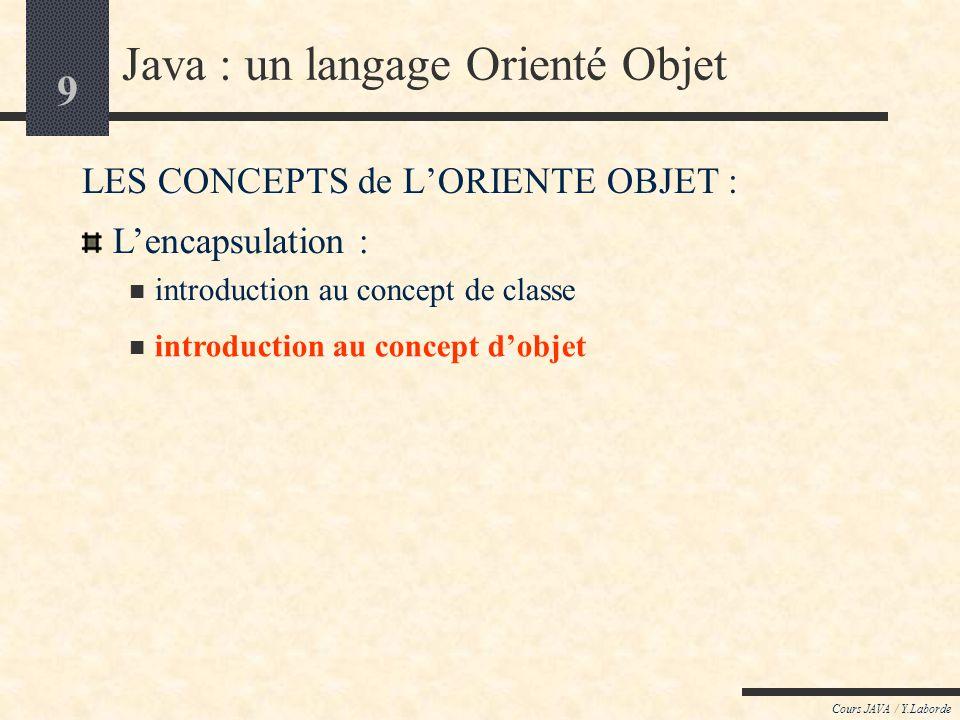 9 Cours JAVA / Y.Laborde Java : un langage Orienté Objet LES CONCEPTS de LORIENTE OBJET : introduction au concept dobjet Lencapsulation : introduction au concept de classe