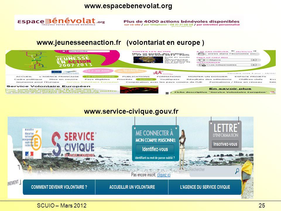 SCUIO – Mars 201225 www.espacebenevolat.org www.service-civique.gouv.fr www.jeunesseenaction.fr (volontariat en europe )