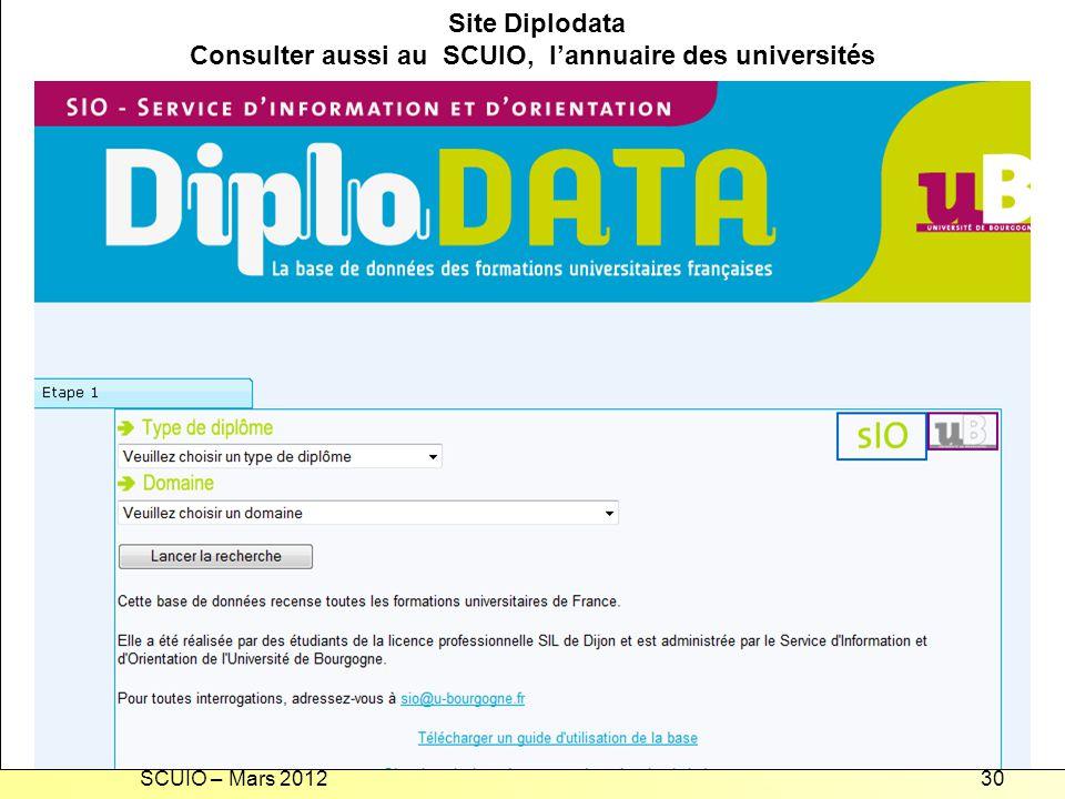 SCUIO – Mars 201230 Recherche dune formation universitaire en France Site Diplodata Consulter aussi au SCUIO, lannuaire des universités