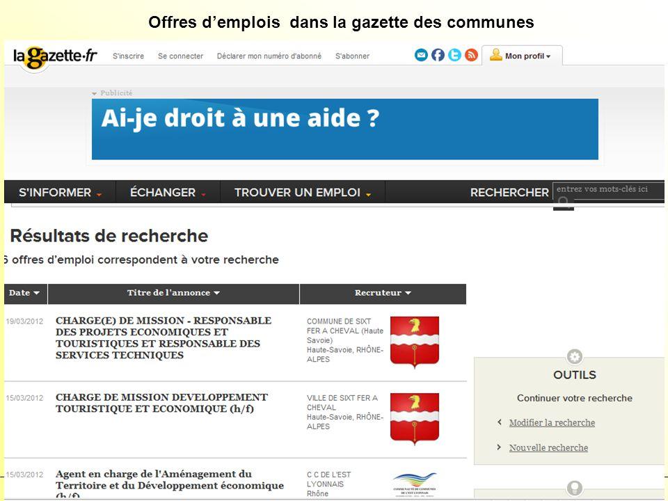 SCUIO – mars 2012 38 Offres demplois dans la gazette des communes