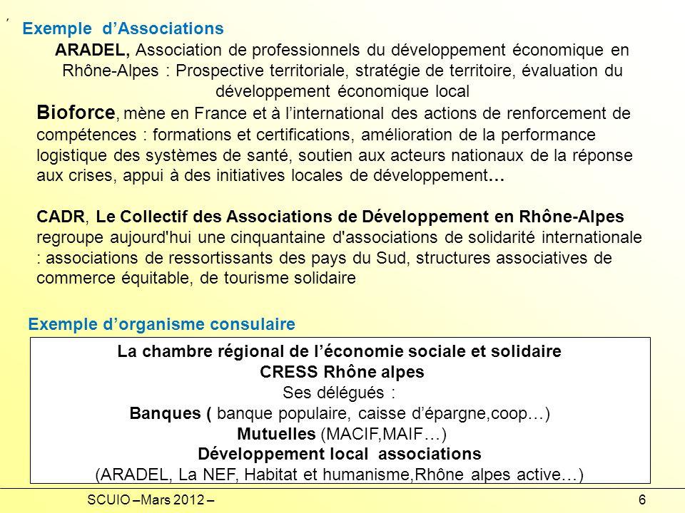 SCUIO –Mars 2012 –6 La chambre régional de léconomie sociale et solidaire CRESS Rhône alpes Ses délégués : Banques ( banque populaire, caisse dépargne,coop…) Mutuelles (MACIF,MAIF…) Développement local associations (ARADEL, La NEF, Habitat et humanisme,Rhône alpes active…), ARADEL, Association de professionnels du développement économique en Rhône-Alpes : Prospective territoriale, stratégie de territoire, évaluation du développement économique local Bioforce, mène en France et à linternational des actions de renforcement de compétences : formations et certifications, amélioration de la performance logistique des systèmes de santé, soutien aux acteurs nationaux de la réponse aux crises, appui à des initiatives locales de développement… CADR, Le Collectif des Associations de Développement en Rhône-Alpes regroupe aujourd hui une cinquantaine d associations de solidarité internationale : associations de ressortissants des pays du Sud, structures associatives de commerce équitable, de tourisme solidaire Exemple dAssociations Exemple dorganisme consulaire