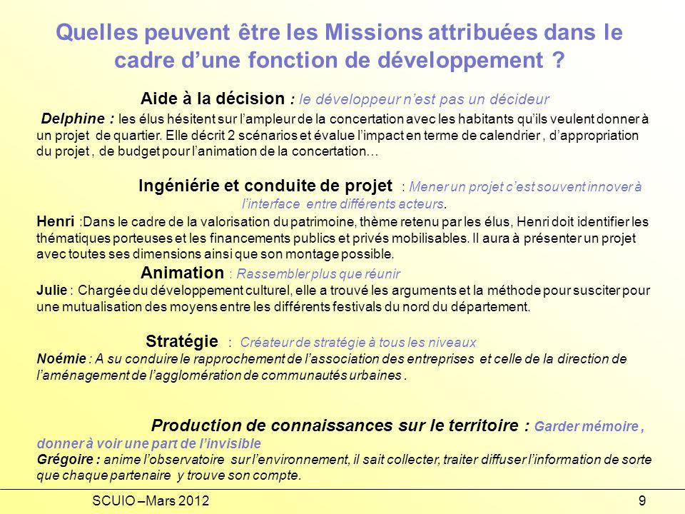SCUIO –Mars 20129 Quelles peuvent être les Missions attribuées dans le cadre dune fonction de développement .