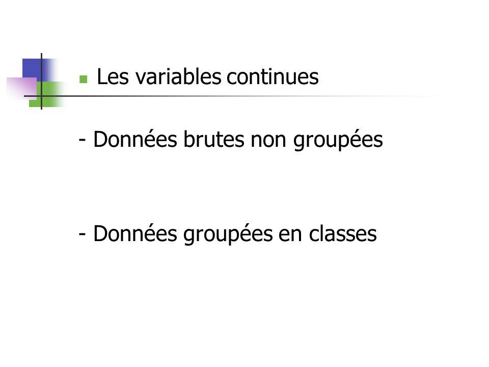 Les variables continues - Données brutes non groupées - Données groupées en classes