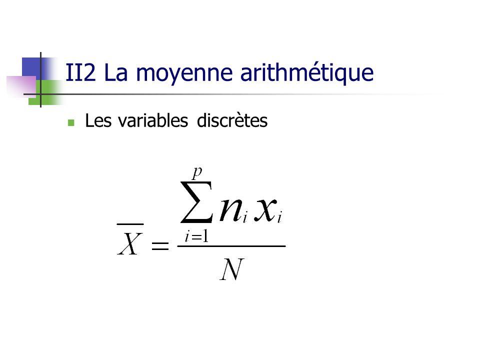 II2 La moyenne arithmétique Les variables discrètes
