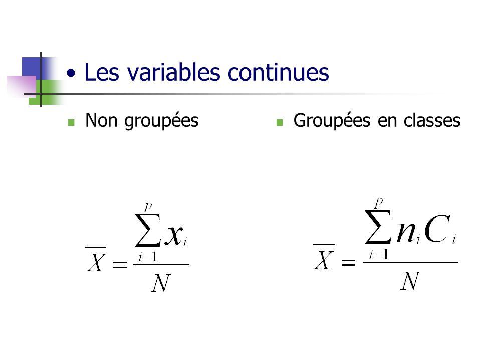 Les variables continues Non groupées Groupées en classes