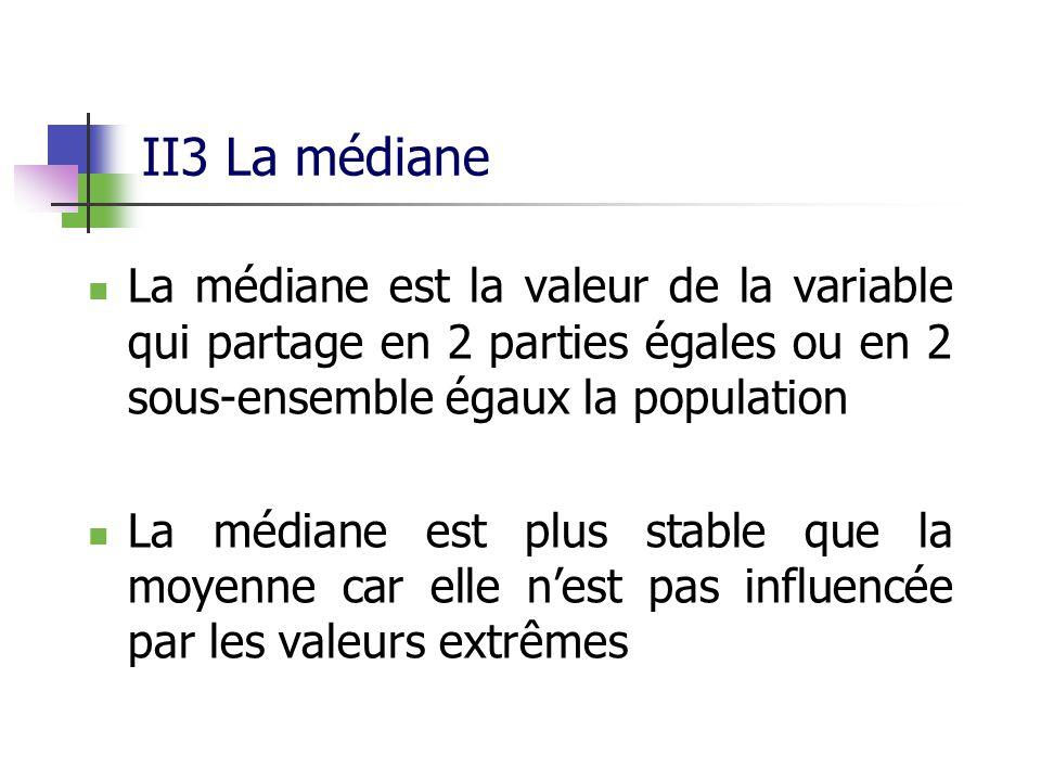 II3 La médiane La médiane est la valeur de la variable qui partage en 2 parties égales ou en 2 sous-ensemble égaux la population La médiane est plus stable que la moyenne car elle nest pas influencée par les valeurs extrêmes
