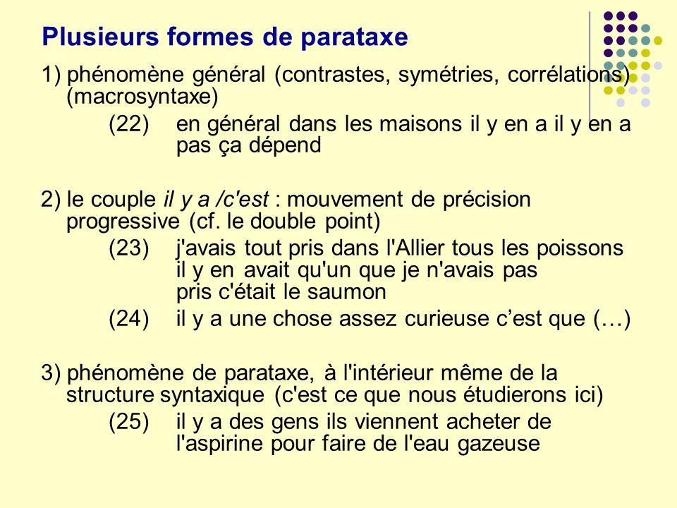 Plusieurs formes de parataxe 1) phénomène général (contrastes, symétries, corrélations) (macrosyntaxe) (22)en général dans les maisons il y en a il y